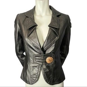 Danier Folded Lapel Leather Jacket Single Button